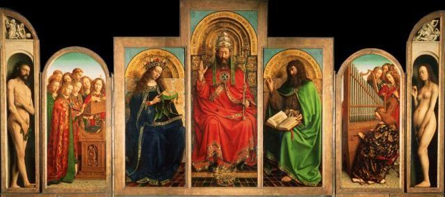 Kopie (2) van het lam Gods van Jan van Eyck bijgesneden