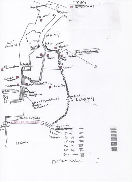 routekaartje  (schets) amsterdam op formaat